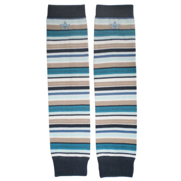 Huggalugs Leg Warmers newborn toddler preschool sock cold weather blue brown beige locomotive stripes latte