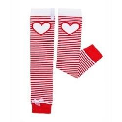 Huggalugs Leg Warmers newborn toddler preschool sock cold weather red white hearts stripes