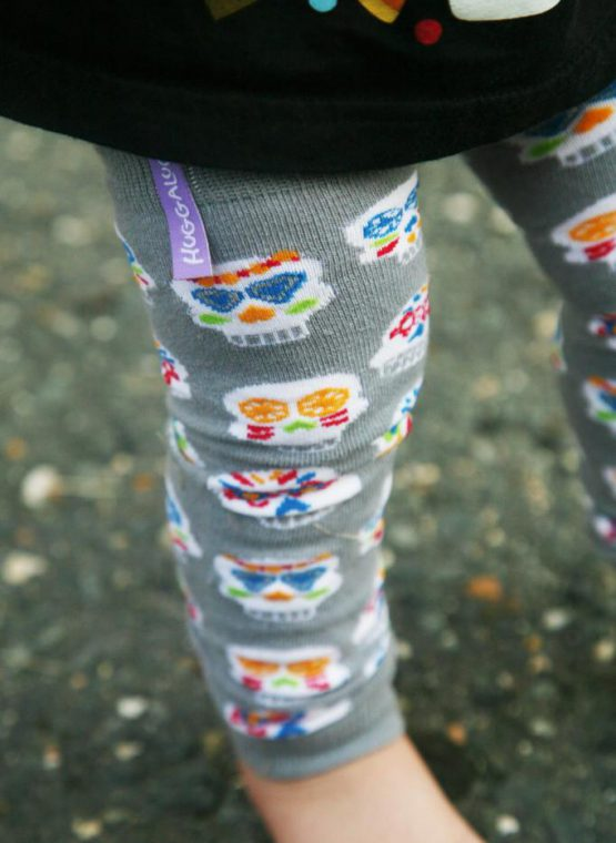 Huggalugs Leg Warmers newborn toddler preschool sock cold weather grey skulls rainbow dias de los muertos