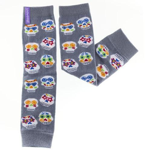 Huggalugs Leg Warmers newborn toddler preschool sock cold weather grey skulls sugar dias de los muertas