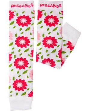 Huggalugs Leg Warmers newborn toddler preschool sock cold weather white pink flowers floral fleur