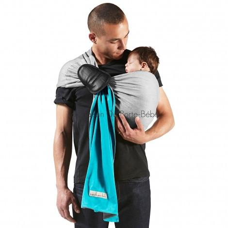 Je Porte Mon Bebe basic try before you buy jpmbb je porte mon bebe original stretchy wrap two way yellow beige sling library sling hire s;ing rental rent premature little wrap without a knot ring sling newborn baby front hip back carry turquoise light grey
