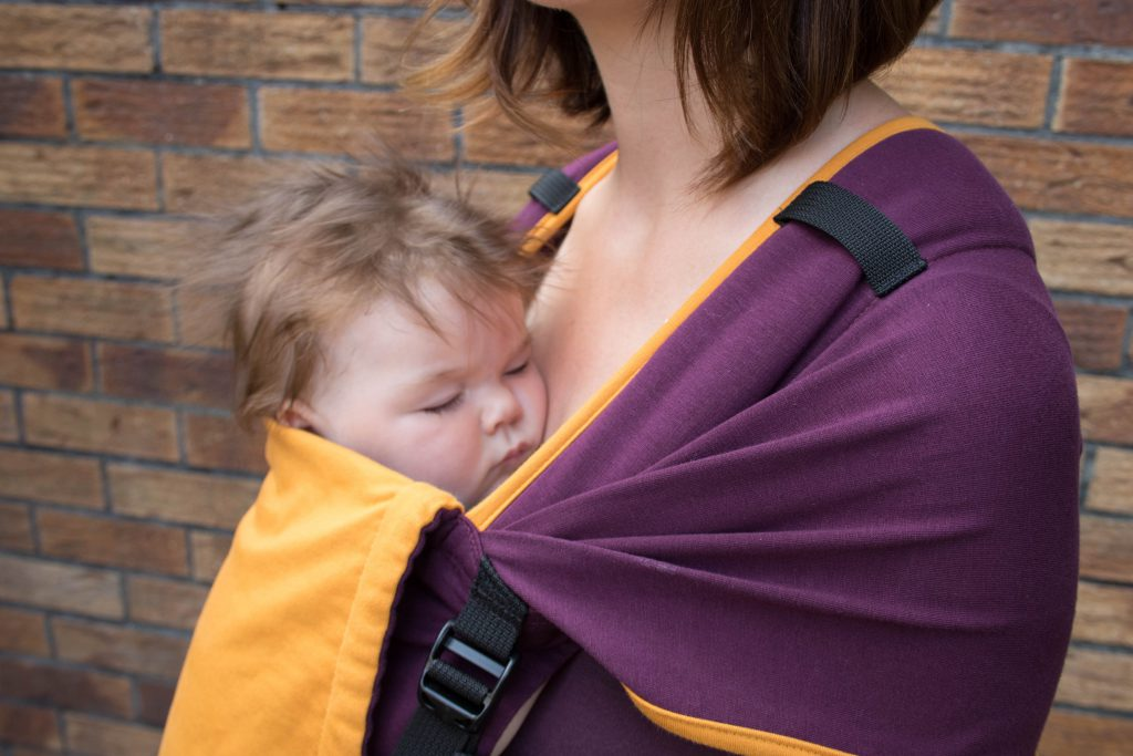 Newborn Carrying Mamaruga Zensling Stretchy Buckle Carrier (Purple and Yellow)
