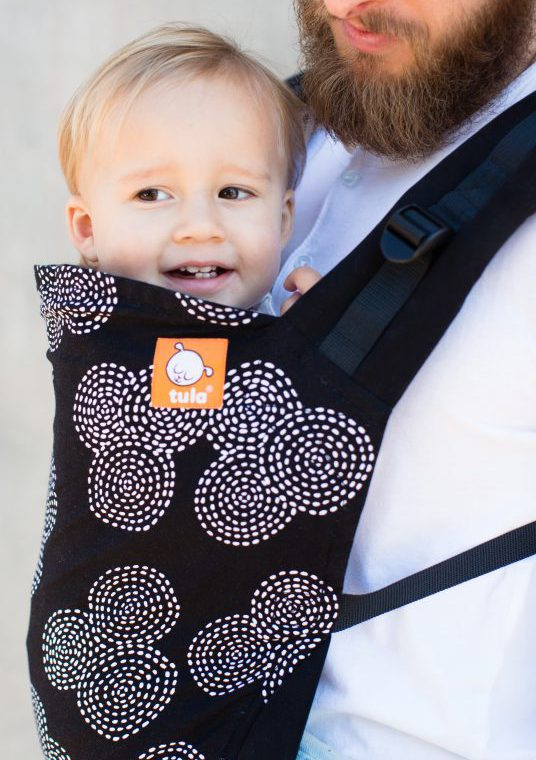 Toddler Tula Tula Baby Carrier sling hire rent sling library concentric geometric black white monochrome