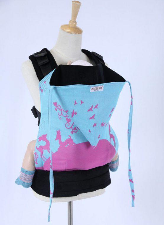 Kokadi erna im wunderland in wonderland blue pink kokadi wearababy medium wompat corduroy woven wrap conversion pixie hood