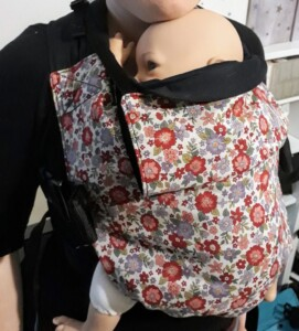 integra size 1 2 3 baby toddler prechool prechooler unstructured connecta sarah sadler autumn fauna luxury beauty sling carrier newborn sling hire sling library sling rental fleur floral flwoer print hood neck support newborn