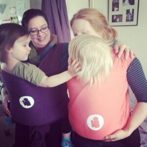 Sling school stretchy wrap testers with older babies