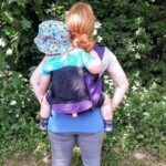 sling library hire rent try before you buy baby sling carrier CAboo DX Go In a back carry with a toddler- still cool on a hot day