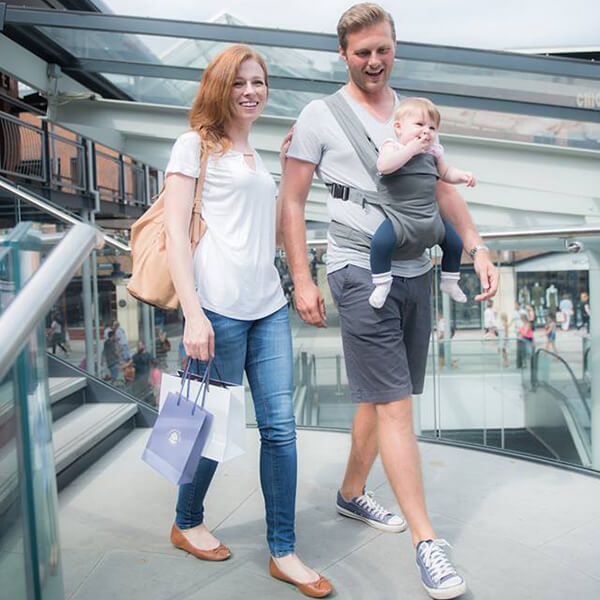 sling library hire rent try before you buy baby sling premature carrier Izmi baby grey spotlight on the forward facing world world-facing forward-facing outward-facing inward-facing back carry hip carry, newborn infant insert adjustable adaptable