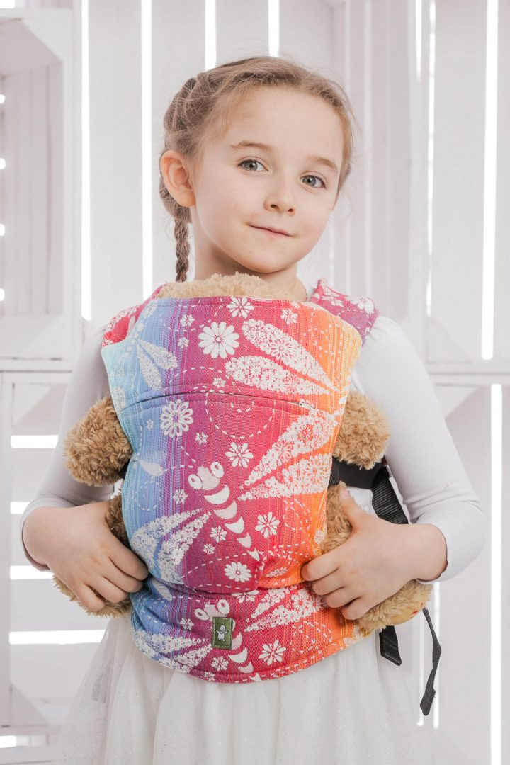 sling hire sling library sling rent rental try before you buy lenny lamb heavenly lace rainbow light white children child waist bag babywearing doll carrier sling buckle dragonflies light