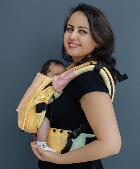neko rainbow unique sunset carrier sling buckle newborn adjustable adaptable sling hire sling library sling rent rental try before you buy