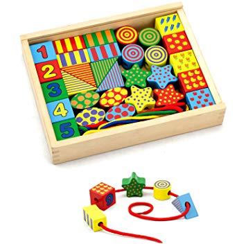 viga lacing blocks developmental toy calm family teaching learning