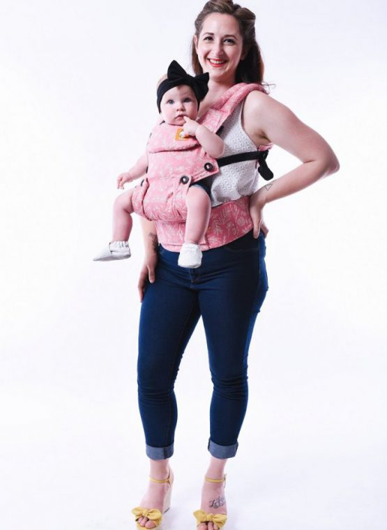 tula explore bloom facing out forward facing buckle carrier pink