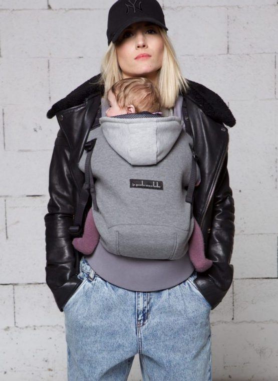 jpmbb hoodiecarrier flannel grey buckle carrier